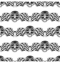 Biker rider skull and flags pattern vector image