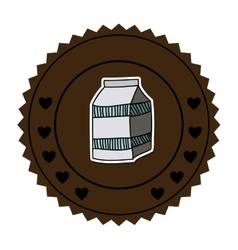 color round frame with milk carton vector image