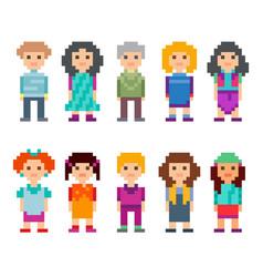 Different pixel 8-bit characters vector