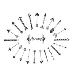 hand drawn arrows collection with ink elements vector image