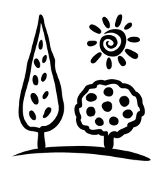 Sketch tree and sun vector image