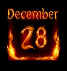 twenty-eighth december in calendar of fire icon vector image