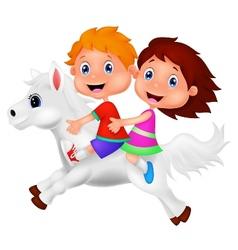 Cartoon Boy and girl riding a pony horse vector image vector image