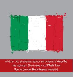 italian flag flat - artistic brush strokes and vector image