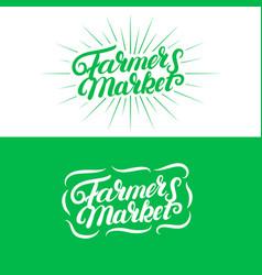 set of farmers market hand written lettering logos vector image vector image