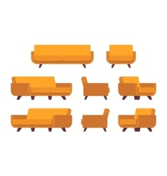 Set of retro yellow sofa and armchair vector image vector image
