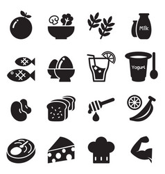 healthy food diet food icons set vector image vector image