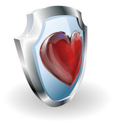 heart on 3d shield icon vector image
