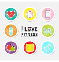 I love fitness round icon set isolated Timer water vector image