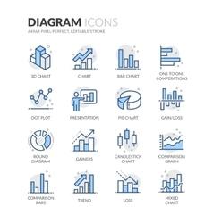 Line Diagram Icons vector image