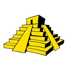 mayan pyramid icon cartoon vector image