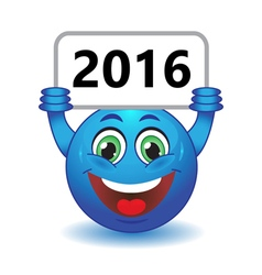 Smiley holding a sign 2016 vector image vector image
