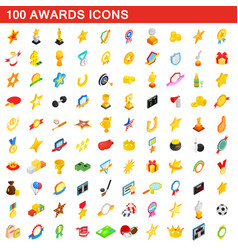 100 awards icons set isometric 3d style vector