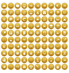 100 oceanology icons set gold vector
