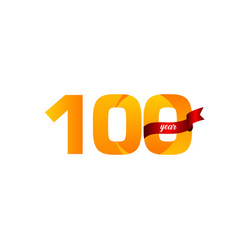 100 years anniversary celebration yellow with red vector