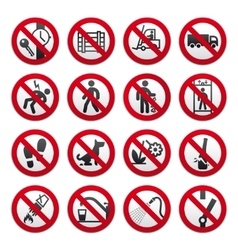 A set of signs prohibiting vector