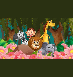 Animals in jungle scene vector