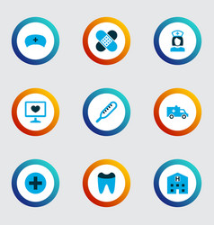 antibiotic icons colored set with medic cap nurse vector image