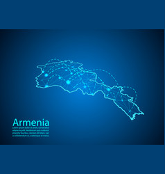 armenia map with nodes linked by lines concept of vector image