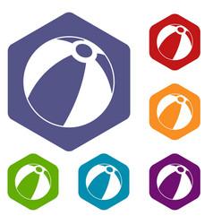 Beach ball icons set hexagon vector