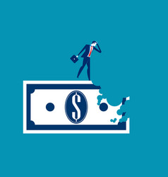Bite out of profits businessman standing on vector