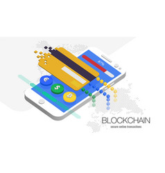 blockchain cryptocurrency currency vector image
