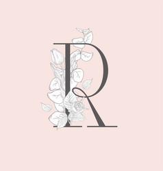 Blooming floral elegant r monogram and logo vector