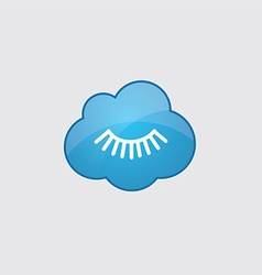 Blue cloud eyelash icon vector image