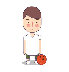 Bowling athlete with ball sport man avatar vector