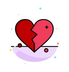broken love heart wedding abstract flat color vector image