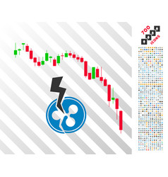 Candlestick chart ripple crash flat icon with vector