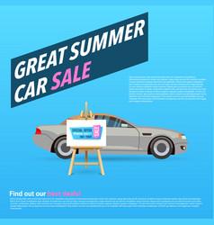 Car sale banner with cartoon vector