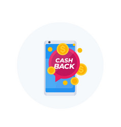 Cashback offer icon with smartphone vector