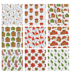 Christmas and new year seamless patterns vector
