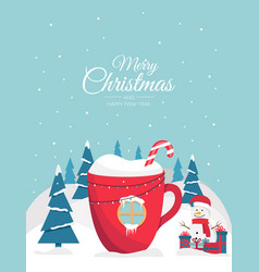 Christmas cup with a drink in form a house vector