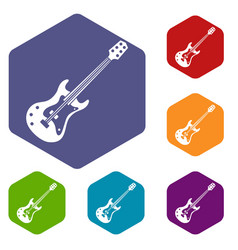 Classical electric guitar icons set hexagon vector