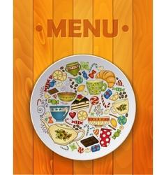 Coffee and Tea Sketch Doodles for Restaurant Menu vector