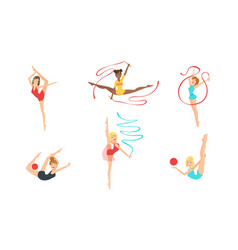 colection gymnast women performing rhythmic vector image