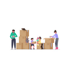 concept of family with kids moving vector image