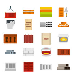 Construcion material icon set flat style vector