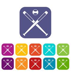 crossed baseball bats and ball icons set flat vector image
