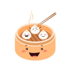 cute cartoon dim sum traditional chinese dumplings vector image