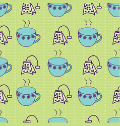 Cute tea cups and teabags geometrically aligned on vector