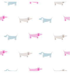 dachshund dog seamless simple colorful vector image