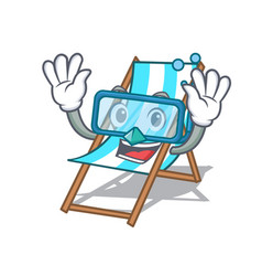 diving beach chair character cartoon vector image