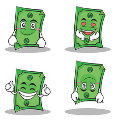 dollar character cartoon style set collection vector image