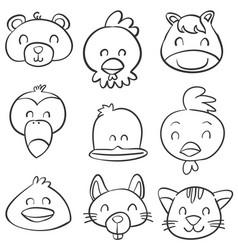 Doodle animal head hand draw vector