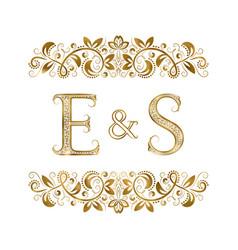 E and s vintage initials logo symbol vector