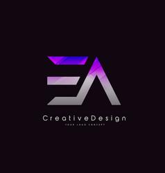 Ea letter logo design purple texture creative vector