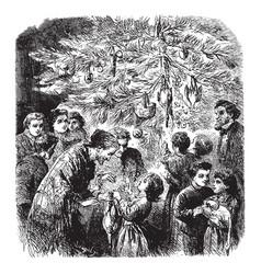 Family around christmas tree vintage vector